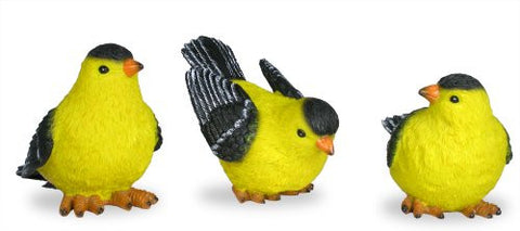 Goldfinch Bird Figurines - Set of 3