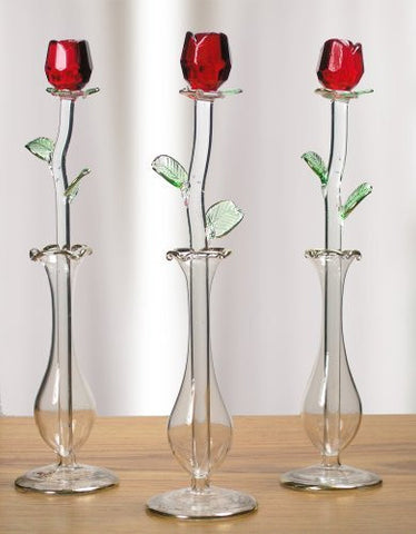 Red Rose in Glass Vase - Crystal Rose That Will Last Forever - Gift Boxed - I Love You - Valentine's Day - Mom - Wife - Girlfriend