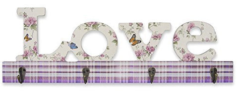 """LOVE"" Wall Key Hook Holder with Butterflies Flowers and Plaid Print Pattern  - 4 Metal Hooks - 17.75 Inch Wide"