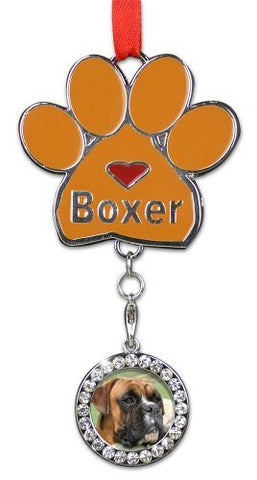Boxer Ornament - I love Boxers Christmas Ornament - Place for a Picture of Your Favorite Boxer - Hanging Paw Print Designs with Red Ribbon
