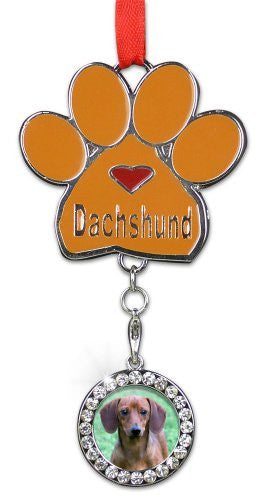 Dachshund Ornament - I love Dachshunds Christmas Ornament - Place for a Picture of Your Favorite Dachshund - Hanging Paw Print Designs with Red Ribbon(2381)