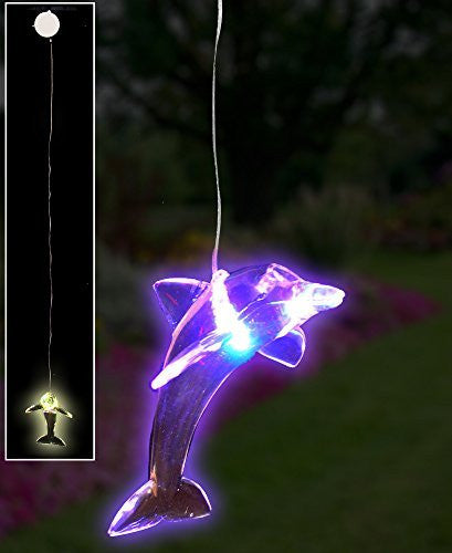 "LED Dolphin Hanging Window Decoration Night Light - Gift for Dolphin Lover - Batteries Included - Clear Acrylic - 18""H(2211)"