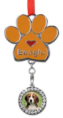 Beagle Ornament - I love Beagles Christmas Ornament - Place for a Picture of Your Favorite Beagle - Hanging Paw Print Designs with Red Ribbon