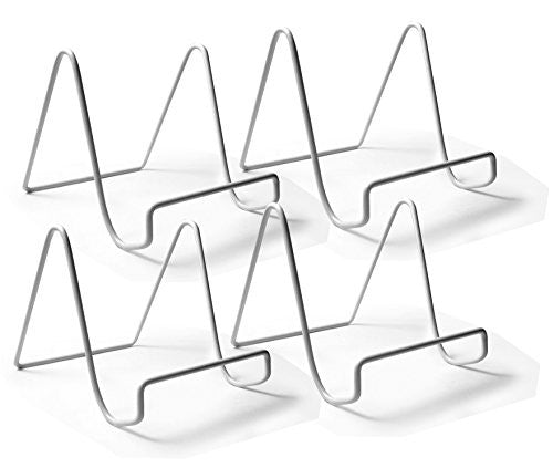 Wire Easel Plate Stands Display Holder - White Vinyl Coated Metal - 4 Inch - Pack of 4