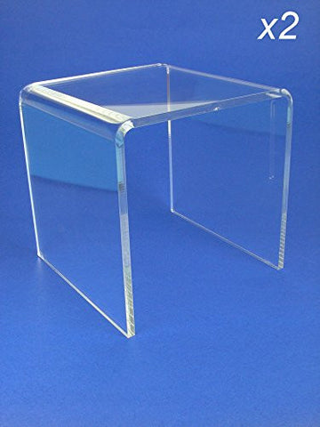 Acrylic Display Stand Risers Premium 6 Inch High Set of 2 (1374-6)
