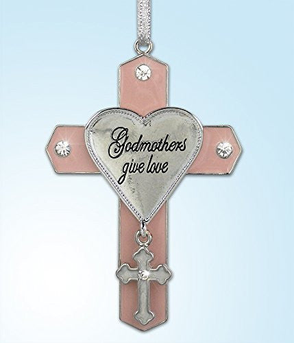 Godmother Jeweled Hanging Ornament Cross with Cross Charm Metal 3 Inch(2945)