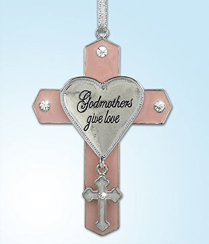 Godmother Jeweled Hanging Ornament Cross with Cross Charm Metal 3 Inch