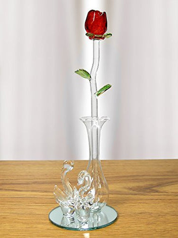 Crystal Red Rose in Glass Vase - Decorative Swan Vase with Mirrored Vase