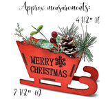 Merry Christmas Red Sleigh Decoration - Set of 2