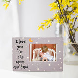 I Love You Picture Frame - Rectangle Shaped Photo Frame with I Love You to The Moon and Back Saying - Moon and Stars Gray and White Photo Frame