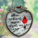 Memorial Cardinal Suncatcher - When Cardinals Appear Angels are Near Saying(1875)
