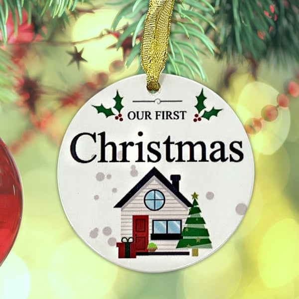 Our First Christmas Ornament - Holiday Seasonal House Design - Blank Ceramic Back to Personalize with Marker - 2.62 Diam