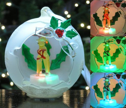 Reindeer Frosted Glass Globe Christmas LED Ornament