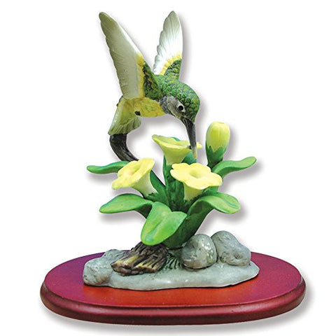 Hummingbird Figurine Porcelain with Buttercup Flower on Wood Base