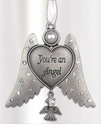 Jeweled Angel Ornament - You're an Angel with Angel Charm and Pewter Finish