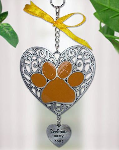 Paw Prints On My Heart Filigree Ornament with Engraved Charm Pewter Metal 4.25 Inch