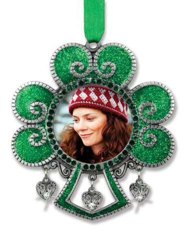 Irish Picture Ornaments- Green Glitter Shamrock Ornament