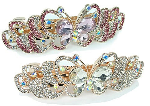 Rhinestone Barrettes - Set of 2 Jeweled Butterfly Hair Clips - Pink Crystals and Clear Crystals - Gold Tone Barrett