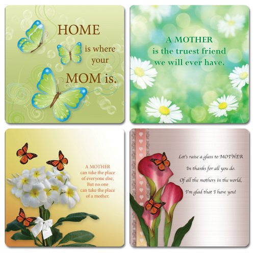 Mother's Day Gifts - Coasters for Drinks - Set of 4 Decorative Coasters each with a Different Saying About Mom - Gifts for Her - Mother - Wife