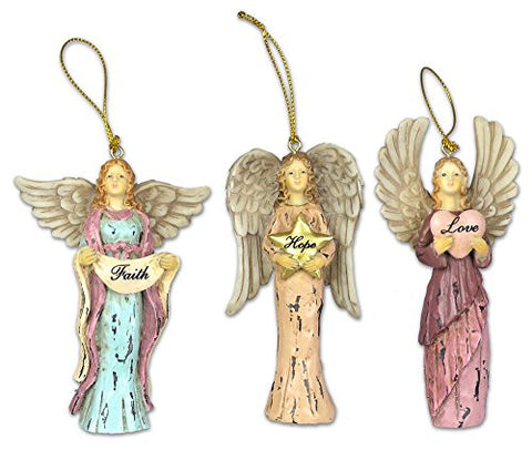Faith Hope Love Angel Ornaments - Set of 3 - Christmas Ornament(2329)