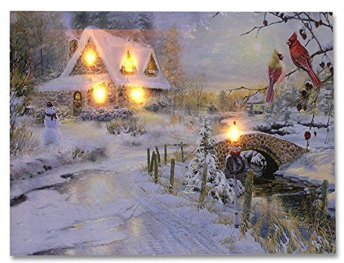 LED Canvas Art Print Wall Decoration - Village Cottages Along a Stream Christmas Scene with Cardinals and Snowman