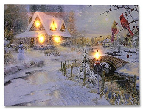 LED Canvas Art Print Wall Decoration - Village Cottages Along a Stream Christmas Scene with Cardinals and Snowman - Old Fashioned Cobblestone Bridge - 12x16 Inch by Banberry Designs(2571)