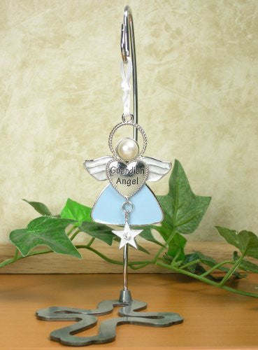 Guardian Angel Hanging Ornament Angel with Star Charm and 6 Inch Cross Stand