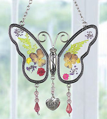 Love Butterfly Suncatcher - Pressed Flowers