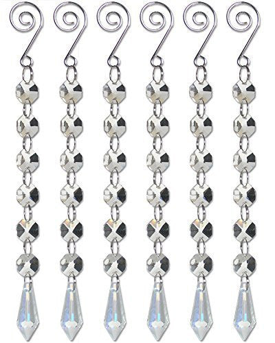 Iridescent Teardrop Crystal Strands - Set of 6 Strands with Octagon Shaped Gems