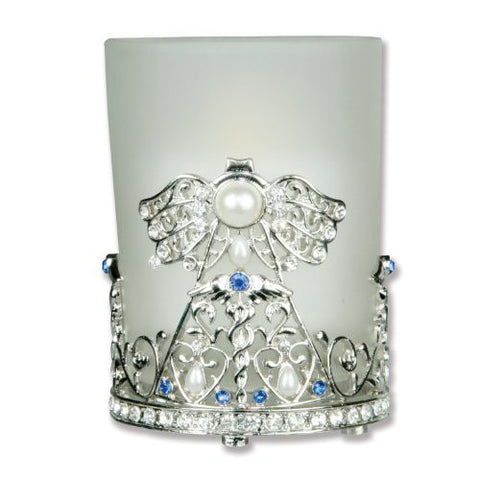 Nurse Candle Holder Frosted Glass & Metal Filigree Angel Jeweled Caduceus - Gift for Nurse - 3 Inch