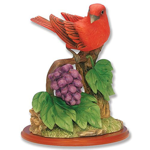 Summer Tanager Bird Figurine Porcelain with Flowers on Wood Base - Wildlife Collectible