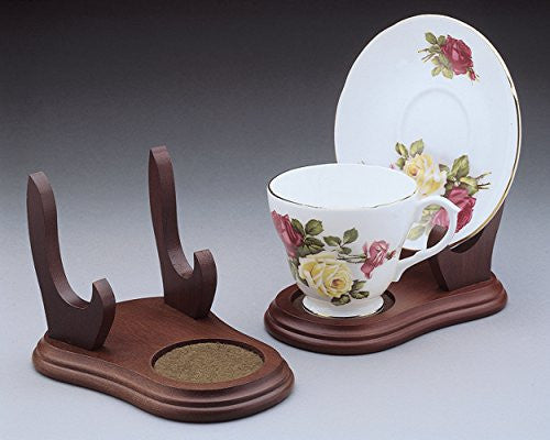 Cup and Saucer Wood Display Stands - Walnut Finish - Set of 2 Stands