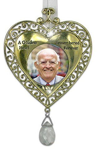 Golden Heart Bereavement Sympathy Remembrance Photo Ornament