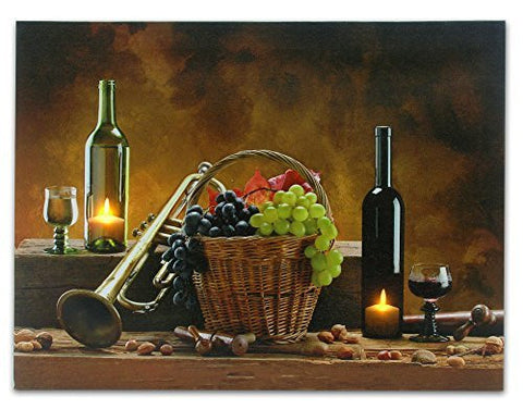 Wine Canvas Print - LED Lighted Candles Inside Wine Bottles - Also Pictured Are Grapes, a Trumpet and a Jazz Horn - 12x16 Inch