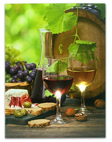 Wine and Cheese Nuts and Grapes LED Lighted Canvas Print