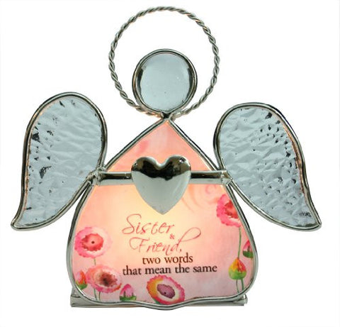 Sister Candle Holder - Beautiful Glass Angel Tealight Candle Holder(2118)