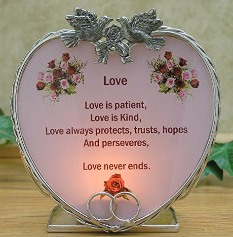 Love Candle Holder - Love Is Patient Love Is Kind Poem Printed on a Glass Heart