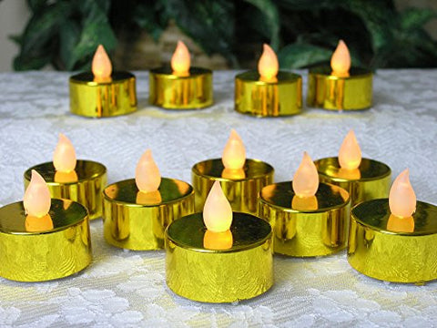 Gold Flameless Tealights - Set of 12