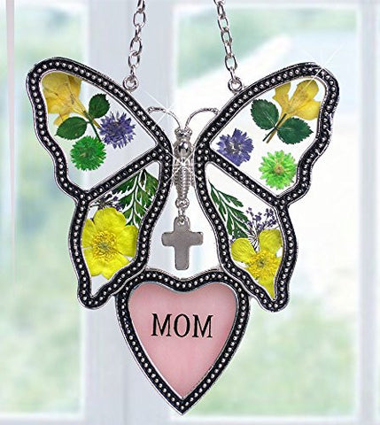 Mom Butterfly Suncatcher - Pressed Flower Glass Butterfly with Pink Mom Heart