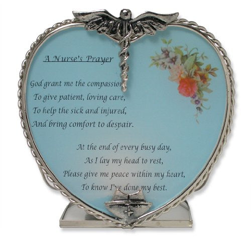 Nurse's Prayer Candle Holder Pewter Heart