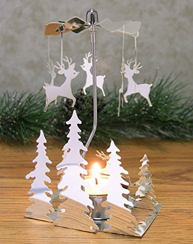 Spinning Metal Candle Holder – Scandinavian Forest and Reindeer Design - Rotary Christmas Candle Holder