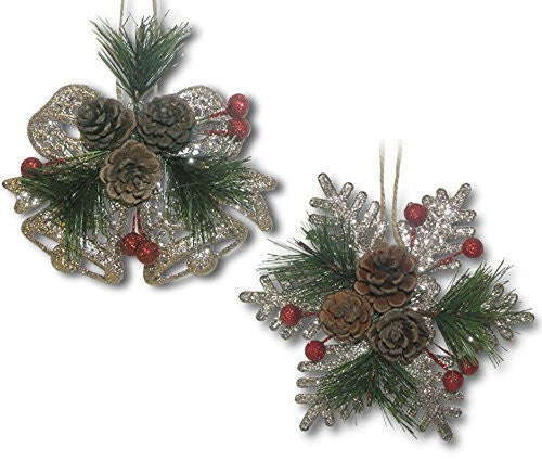 Hanging Christmas Decorations - 2 Silver Glitter Snowflakes with Pinecones - 2 Silver Glitter Christmas Bells with Pinecones