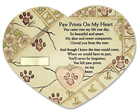 Remembrance Plaque Pet Memorial Paw Prints On My Heart Pet