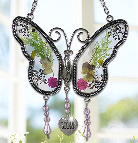 butterfly suncatcher real dried flowers embedded stained glass wings gift for mom