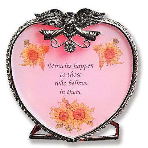 Heart Shaped Candle Holder - Angel with Open Wings Frame