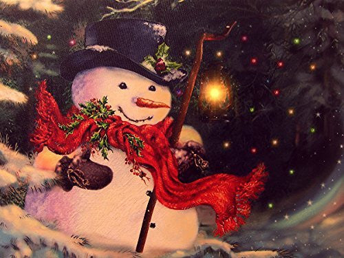 26282eeb61beb Light Up Snowman Picture - LED Christmas Canvas Print - Snowmen Wall  Hanging with a Black