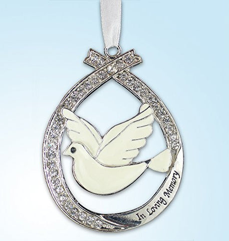 In Loving Memory Ornament with White Dove Jeweled Accents