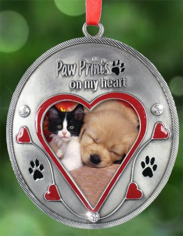 Paw Prints on My Heart Photo Ornament Dog Owners Cat Owners Loss of Pet