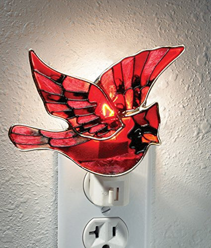 Red Cardinal Bird Night Light Stained Glass