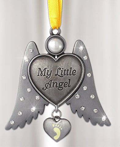 Jeweled Angel Hanging Ornament Baby Footprint Heart Shaped Charm(2893)
